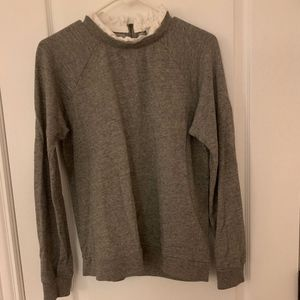 J Crew Grey Sweater with White Blouse Frill
